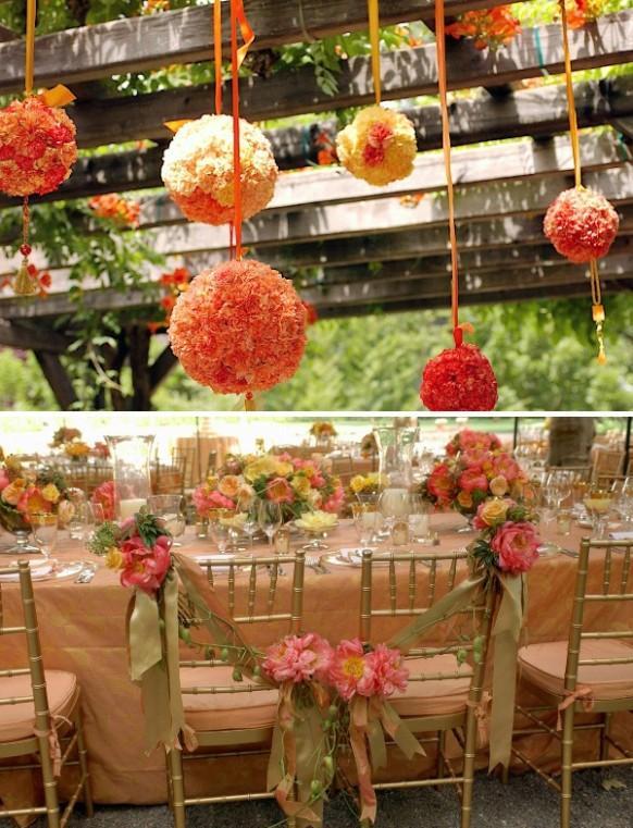 summer wedding decor orange hanging flower kissing ball for garden wedding decor 1910182 weddbook - Orange Garden Decor