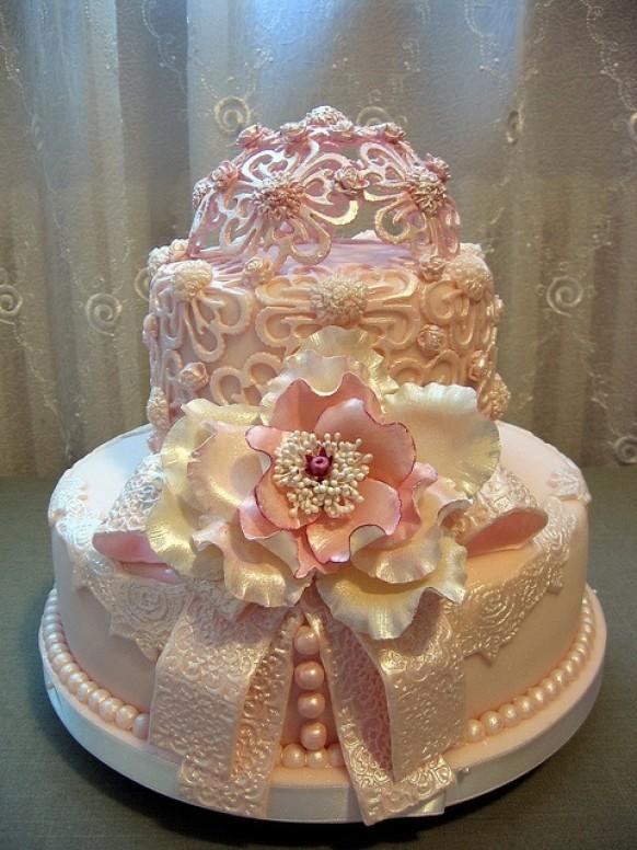 Fondant Cake Pink Dream Wedding Cake Ideas 1919819