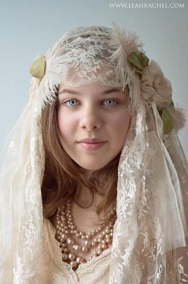 1920's Downton Abbey Style Juliet Veil In Blush Color By ...