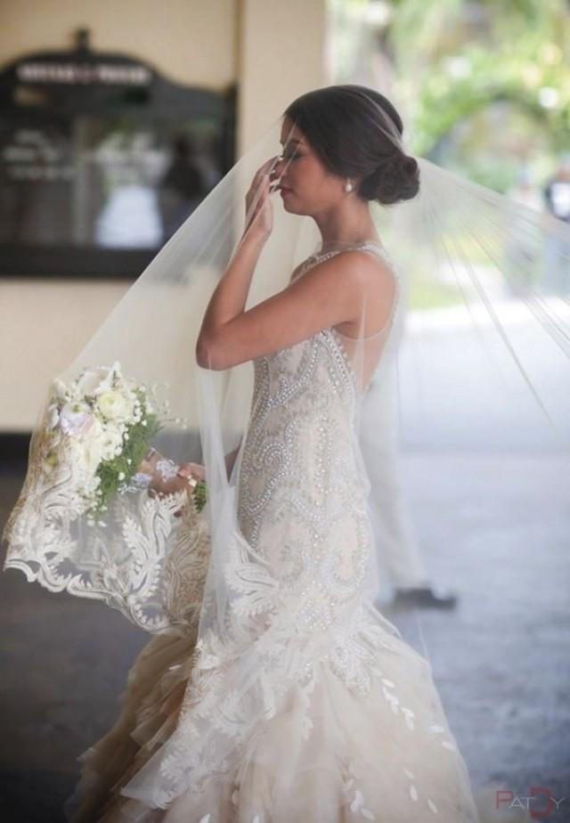 Dress - A White Gown With Threaded And Lacy Work #2039893 - Weddbook