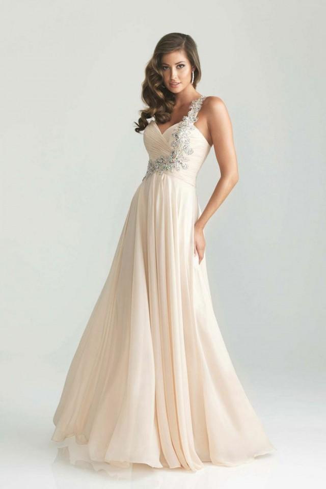 Elegante Perlen Chiffon-Abend-Partei-Kleid-formale Promi ...
