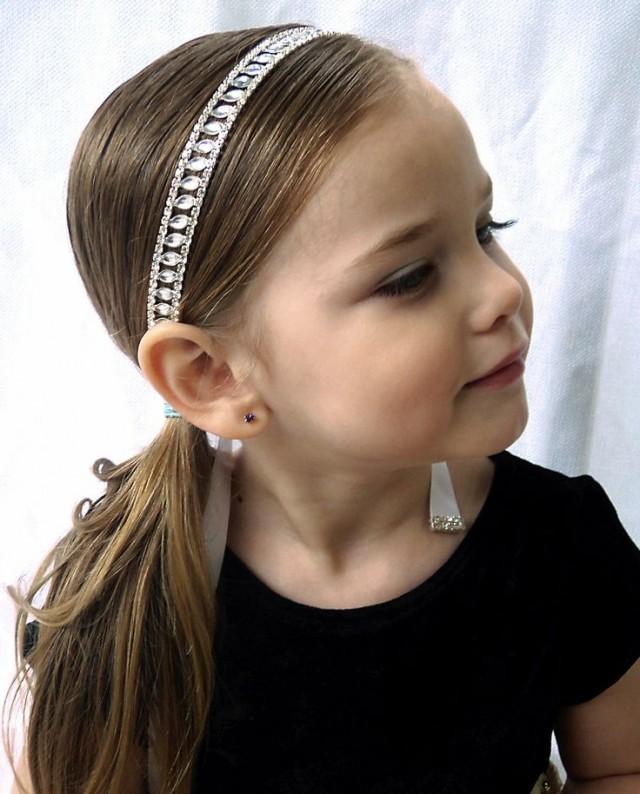 Flower Girl Hair Communion Rhinestone Headband With Ribbon
