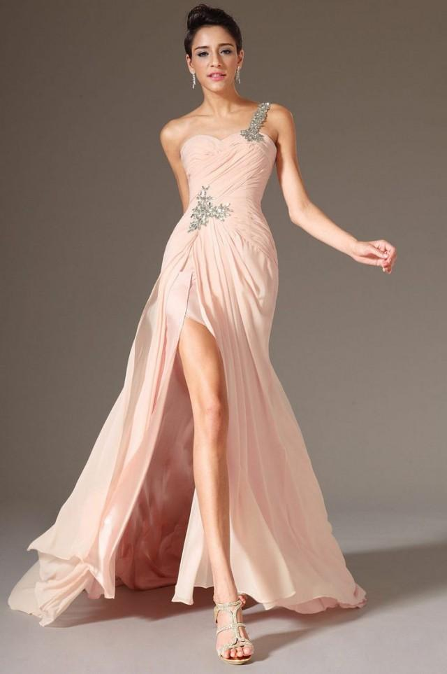 Sexy 2014 One Shoulder Beaded Chiffon Party Prom Bridal Evening ...