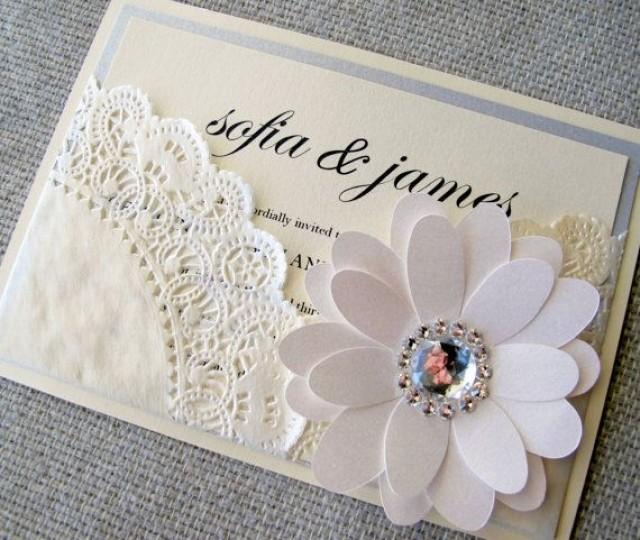 Lace Doily Chic Pocket Wedding Invitation #2065316