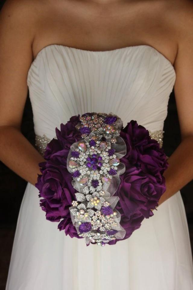 Purple Brooch Bouquet Purple Wedding Bouquet Purple Bridal Bouquet