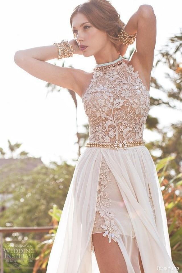 Sexy Halter Lace Applique Beach Wedding Dress Bridal Gown Custom