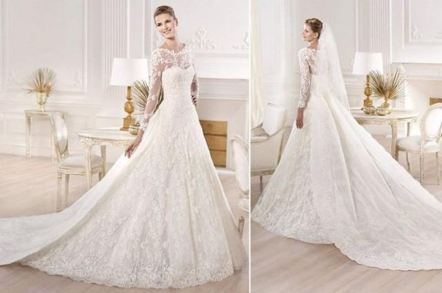 Lace Ball Gown Wedding Dresses: Ball Gown Satin&Lace Bridal Gown Wedding Dress Custom Size