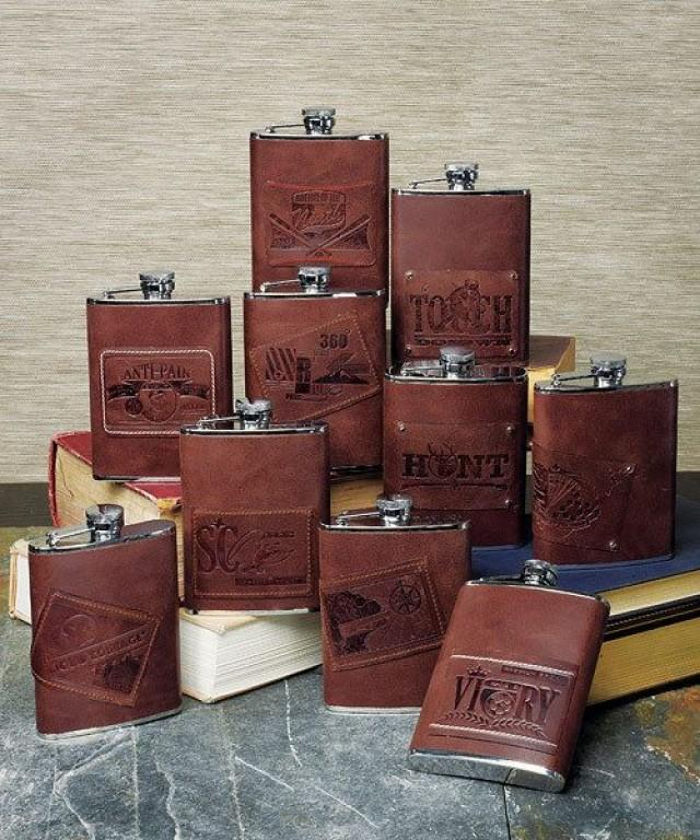 Wedding Gift From Groomsmen: Custom Brown Leather Stainless Steel Personalized Flask