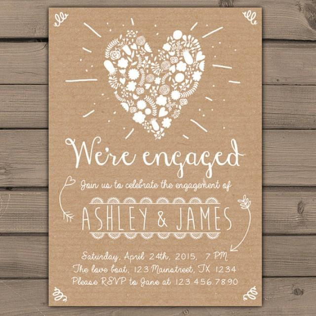 Engagement Party Invitation Engagement Party Invite Engagement Dinner  Wedding Invite Rustic Shabby Chic Heart Flowers Paper DIY Printable   New  #2217952   ...  Free Printable Engagement Party Invitations Templates
