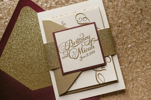 Wine gold fall wedding invitation glitter