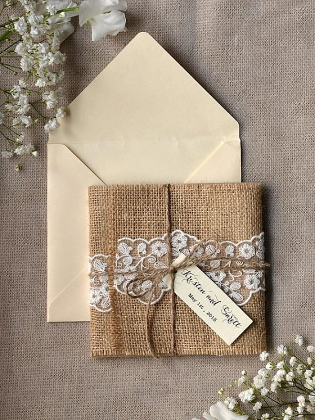custom listing 100 eco recycling lace wedding invitationburlap wedding invitations rustic wedding invitation new 2218152 weddbook - Burlap Wedding Invitations