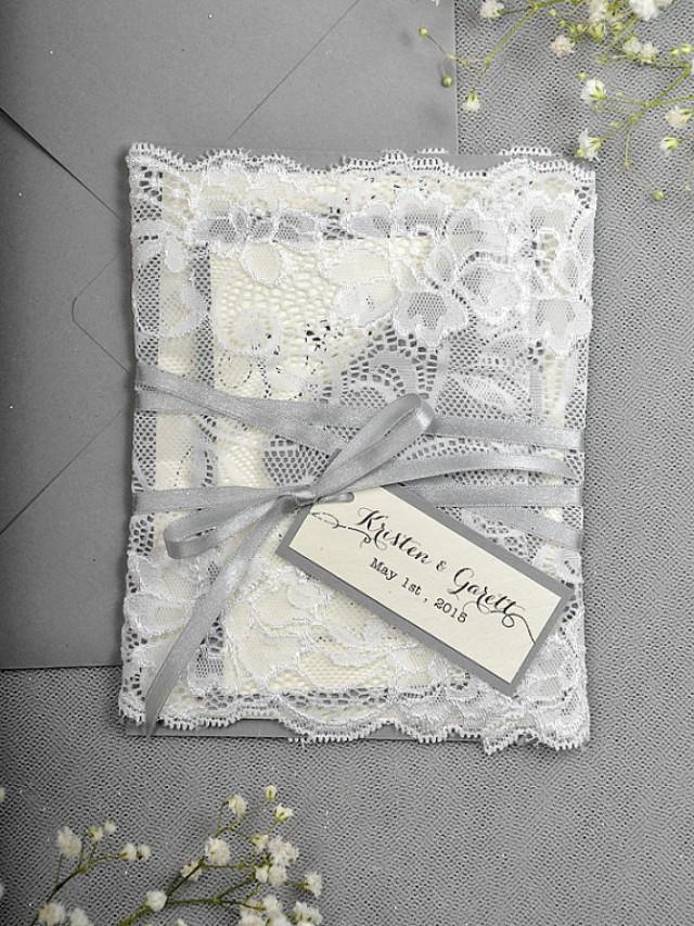 Silver Glitter Wedding Invitation   Lace Grey Invitation #2218169   Weddbook