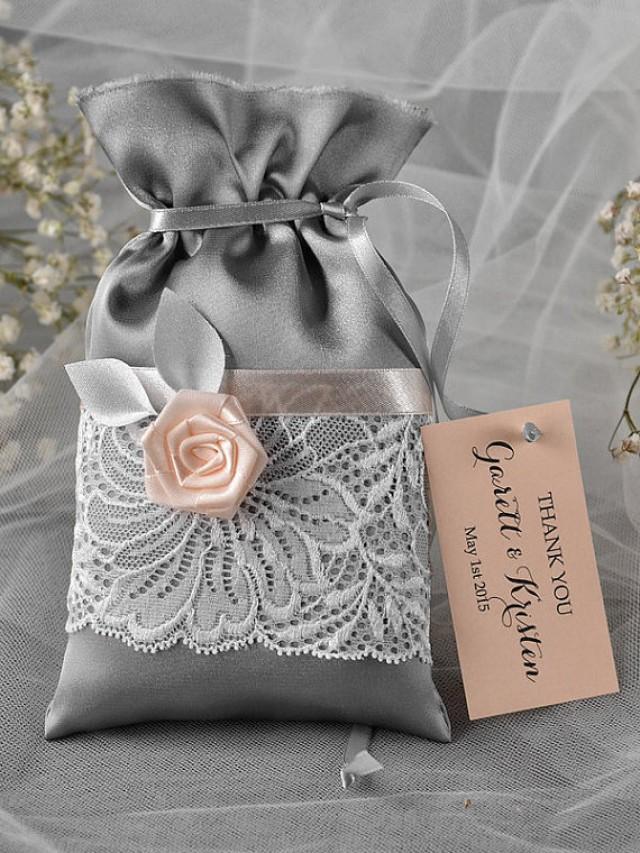 Custom Listing 100 Grey And Peach Wedding Favor Bag Lace Wedding