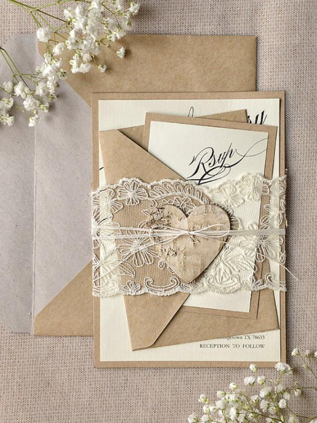 Rustic Lace Wedding Invitation - Calligraphy Wedding Invitations ...