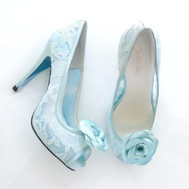 Something Blue Wedding Shoes Mint Floral Lace Peep Toe Bridal Pumps With Handmade Rosette Shoe Clips