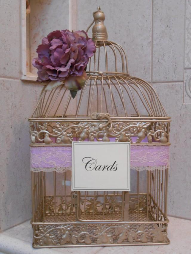 Gold Birdcage Wedding Card Holder Card Box Lavender