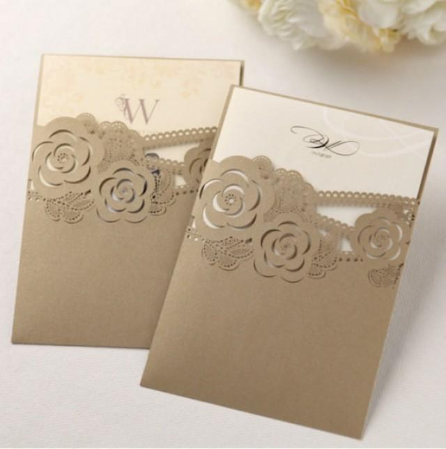 Pearl Gold Laser Cut Custom Wedding Invitation #2260379