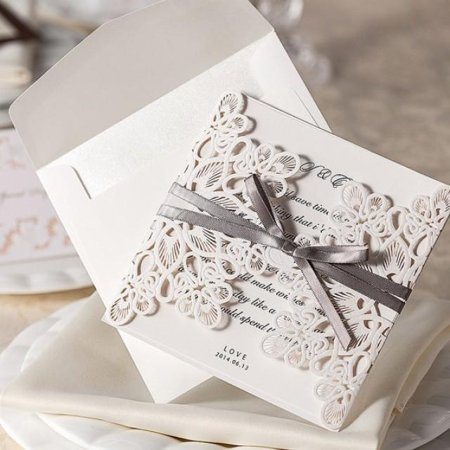 Vintage Gray Ribbon Bow Wedding Invitation Cards Sample