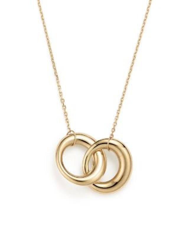 "Bloomingdale's 14K Yellow Gold Double Interlocked Circle Chain Necklace, 17"" - 100% Exclusive"