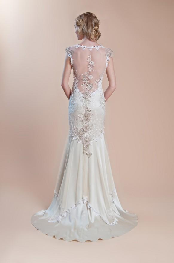Embroidered illusion back gown claire pettibone silk for T back wedding dress