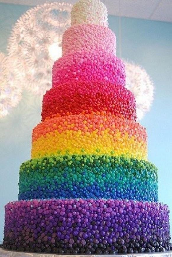 Colorful Rainbow Wedding Cakes Wedding Cake Design With Edible