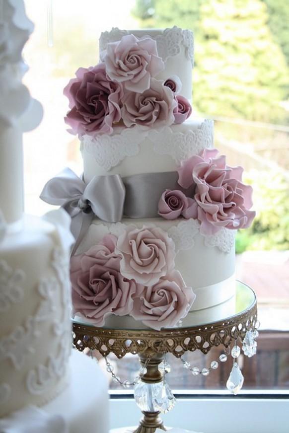 Fondant Lace Wedding Cake Design 802391