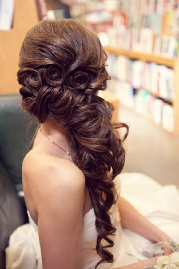 Gorgeous Long Wedding Hairstyle Wavy And Side Swept 804053 Weddbook