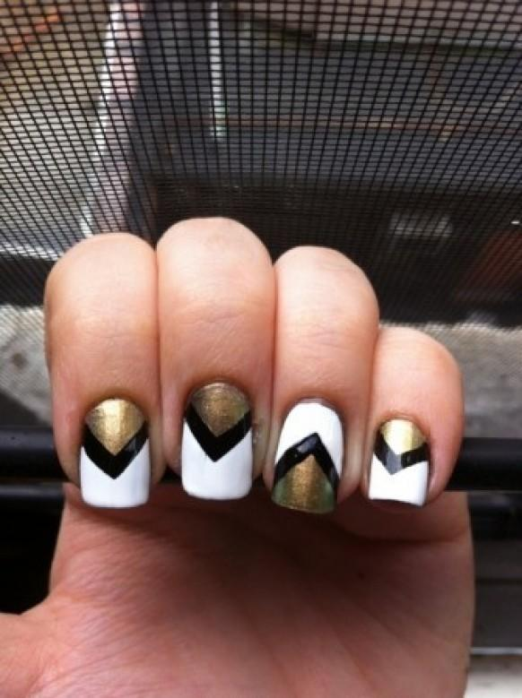 Black Friday Car Deals >> Chevron Nail Design ♥ One Nail Different Color Trend #888685 - Weddbook