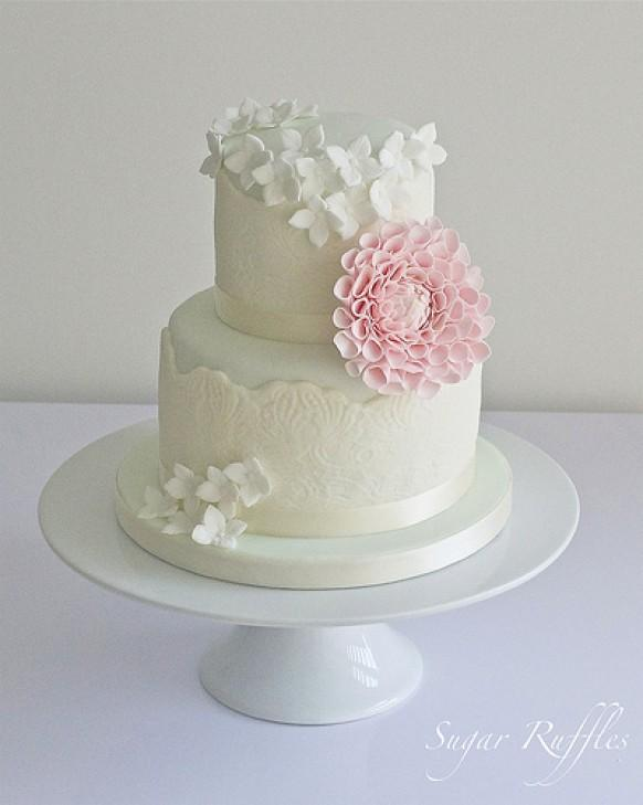 plain white wedding cake bags mint and ivory lace with dahlia and hydrangea 1987687 18655
