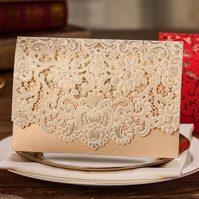 50 Pcs Golden Lace Wedding Invitation With Royal Fl Design Printable Laser Cut Cards 2230230 Weddbook