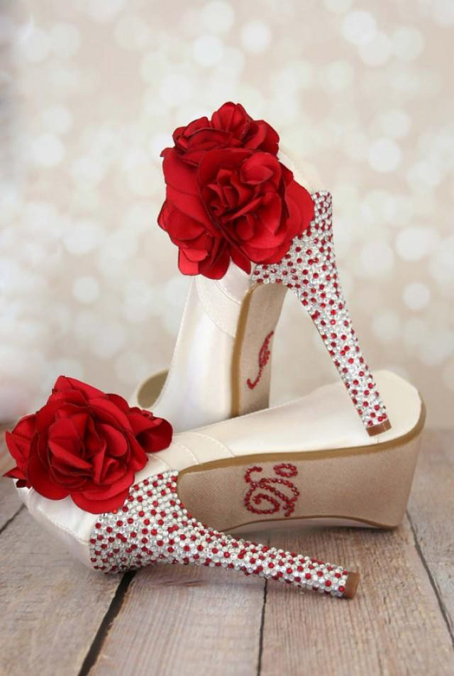 flower wedding shoes ivory platform shoes with silver rhinestones 2260788 4243